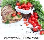 resh cherry tomatoes and herbs... | Shutterstock . vector #1155259588