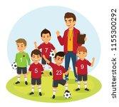 happy children soccer football... | Shutterstock .eps vector #1155300292