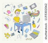 illustration thin line design... | Shutterstock .eps vector #1155302062