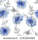 watercolor floral seamless... | Shutterstock .eps vector #1155302482