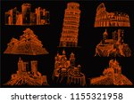 graphical set of sightseeing... | Shutterstock .eps vector #1155321958