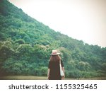 landscape with blond woman... | Shutterstock . vector #1155325465
