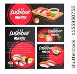 vector banners japanese sushi... | Shutterstock .eps vector #1155350755