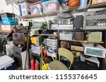 full shelves of vintage... | Shutterstock . vector #1155376645