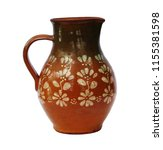 old art ceramic jug isolated on ... | Shutterstock . vector #1155381598