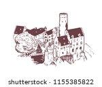lichtenstein castle vector... | Shutterstock .eps vector #1155385822