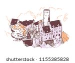 lichtenstein castle vector... | Shutterstock .eps vector #1155385828