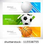 set of banners with sport balls | Shutterstock .eps vector #115538755