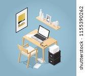 isometric vector home office... | Shutterstock .eps vector #1155390262