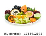 fresh thai fruits plate... | Shutterstock . vector #1155412978