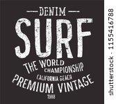 vintage surf text vector print  | Shutterstock .eps vector #1155416788