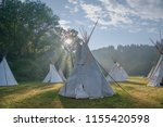 teepee in sunny valley. scouts... | Shutterstock . vector #1155420598