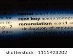 Small photo of renunciation word in a dictionary. renunciation concept.