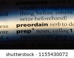 Small photo of preordain word in a dictionary. preordain concept.