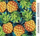 pineapples. seamless vector... | Shutterstock .eps vector #1155430522