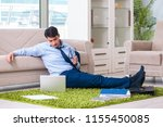 businessman taking work home... | Shutterstock . vector #1155450085