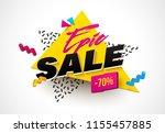 vector memphis 3d style banner... | Shutterstock .eps vector #1155457885