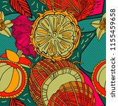 tropical flowers and fruits ...   Shutterstock .eps vector #1155459658