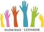raised arms of diversity | Shutterstock .eps vector #115546048
