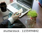 usiness hand working with new... | Shutterstock . vector #1155494842