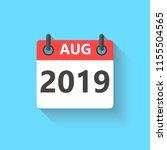 august 2019 calendar flat style ... | Shutterstock .eps vector #1155504565