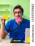 young doctor sitting in...   Shutterstock . vector #1155535882