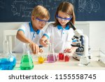 little scientists adding color... | Shutterstock . vector #1155558745