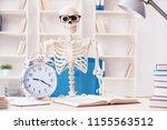 skeleton businessman working in ... | Shutterstock . vector #1155563512
