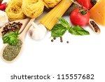 pasta spaghetti  vegetables and ... | Shutterstock . vector #115557682