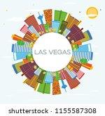 las vegas city skyline with... | Shutterstock . vector #1155587308