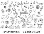 hand drawn doodle fairytale set ... | Shutterstock . vector #1155589105