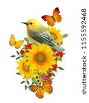 bird sits on a branch of bright ... | Shutterstock . vector #1155592468