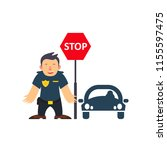traffic policeman holding a... | Shutterstock .eps vector #1155597475