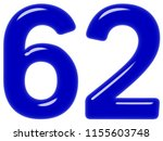 numeral 62  sixty two  isolated ... | Shutterstock . vector #1155603748
