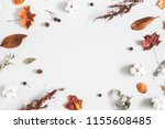 autumn composition. frame made... | Shutterstock . vector #1155608485