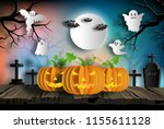paper art style of pumpkins on... | Shutterstock .eps vector #1155611128