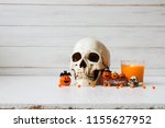 halloween decorations with... | Shutterstock . vector #1155627952