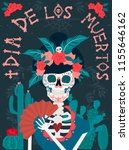 day of the dead poster with... | Shutterstock .eps vector #1155646162