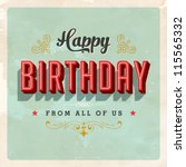 Vintage Birthday Card   Vector...