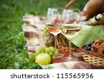 two glasses of the white wine ...   Shutterstock . vector #115565956