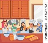 arabian kids in cooking classes ... | Shutterstock .eps vector #1155694765