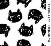 hand drawn black cat pattern ... | Shutterstock .eps vector #1155708685