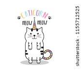 cute vector cartoon flat cat.... | Shutterstock .eps vector #1155712525