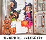 happy halloween  three cute... | Shutterstock . vector #1155723565