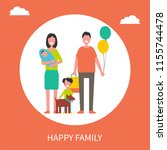 happy family poster father with ... | Shutterstock .eps vector #1155744478