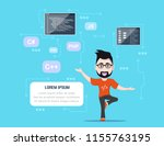 picture of a smart programmer... | Shutterstock .eps vector #1155763195