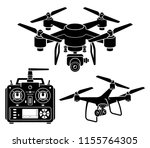 drone silhouette icons set.... | Shutterstock .eps vector #1155764305