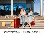two pretty girls in sunglasses...   Shutterstock . vector #1155765448