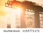 steel bridge construction with... | Shutterstock . vector #1155771172
