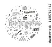 los angeles outline vector hand ... | Shutterstock .eps vector #1155781462